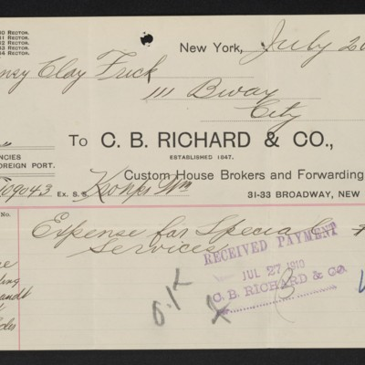 Receipt from C.B. Richard & Co. to Henry Clay Frick, 20 July 1910