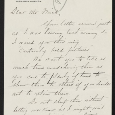 Letter from Charles S. Carstairs to Henry Clay Frick, 13 November 1902