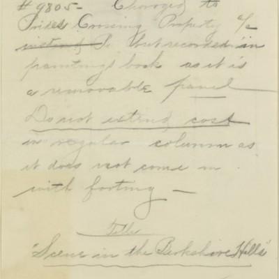 Memorandum prepared by Henry Clay Frick's secretary, 14 October 1909