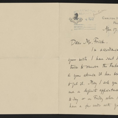 Letter from Roger E. Fry to Henry Clay Frick, 17 April 1912