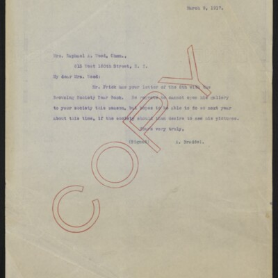 Letter from A. Braddel to Mrs Raphael A. Weed, 9 March 1917