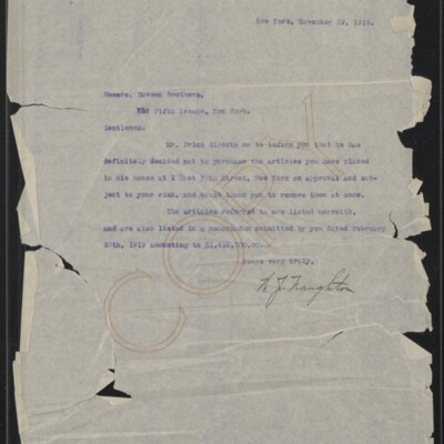 Letter from W. J. Naughton to Duveen Brothers, 29 November 1919