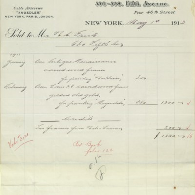 M. Knoedler & Co. Invoice, 1 May 1913