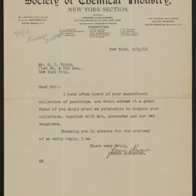 Letter from Jerome Alexander to H.C. Frick, 23 February 1918