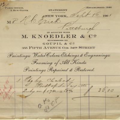 M. Knoedler & Co. Invoice, 16 September 1901
