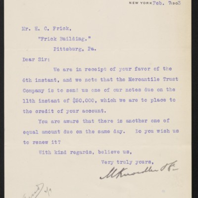Letter from M. Knoedler & Co. to Henry Clay Frick, 7 February 1903