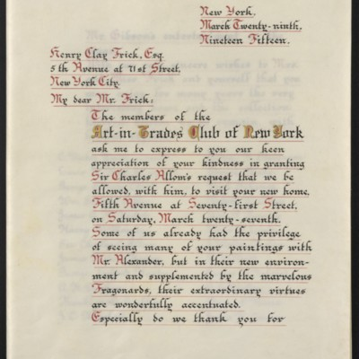 Letter from Clarence Whybrow to Henry Clay Frick, 29 March 1915 [page 1 of 5]