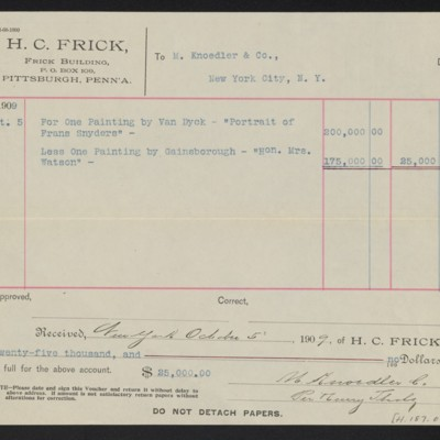 """Voucher from Henry Clay Frick to M. Knoedler & Co. for Van Dyck's """"Portrait of Frans Snyders,"""" 5 October 1909 [back]"""