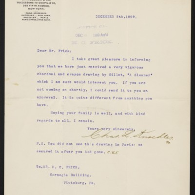 Letter from Charles L. Knoedler to Henry Clay Frick, 5 December 1899
