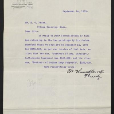 Letter from M. Knoedler & Co. to Henry Clay Frick, 14 September 1909