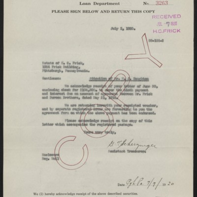 Letter from G.T. Scherzinger to Estate of Henry Clay Frick (copy), 2 July 1920