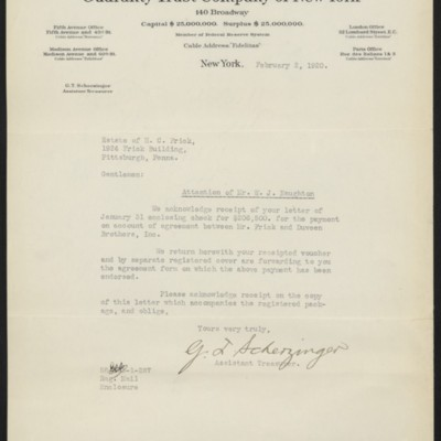Letter from G.T. Scherzinger to the Estate of Henry Clay Frick, 2 February 1920