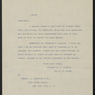 Letter from F.W. McElroy to M. Knoedler & Co., 30 April 1912