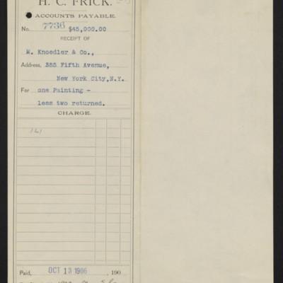 "Voucher to M. Knoedler & Co. for Maris' ""The Bridge,"" 13 October 1906 [front]"