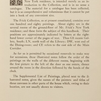Paintings in the Collection of Henry Clay Frick, 1915 [Forward]