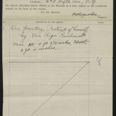 Receipt from the Metropolitan Museum of Art to Henry C. Frick, 7 June 1907 [front]