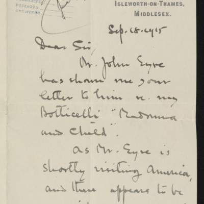 Letter from Hugh Blaker to H.C. Frick, 18 September 1915 [page 1 of 2]