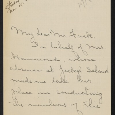 Letter from Josephine DuBois to [H.C.] Frick, circa 15 March 1918 [page 1 of 4]