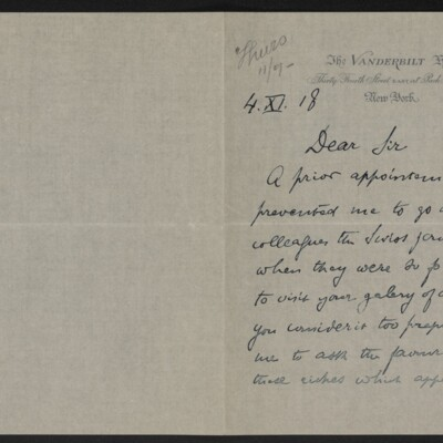 Letter from J.E. David to [Henry Clay Frick], 4 November 1918 [page 1 of 2]