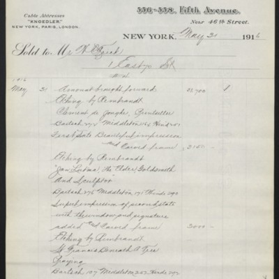 Invoice from M. Knoedler & Co. to Henry Clay Frick, 31 May 1916 [page 4 of 5]