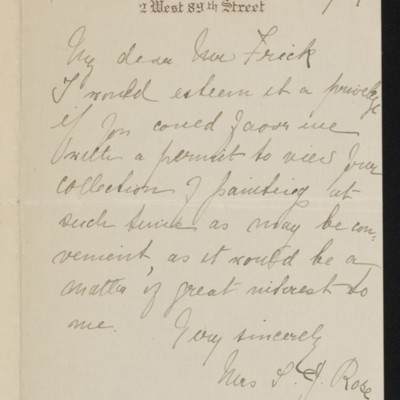 Letter from Mrs. S.J. Rose to [H.C.] Frick, 21 February 1919