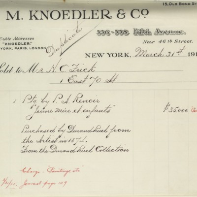 M. Knoedler & Co. Invoice, 31 March 1914