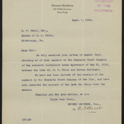 Letter from Duveen Brothers to C.F. Chubb, 7 September 1920