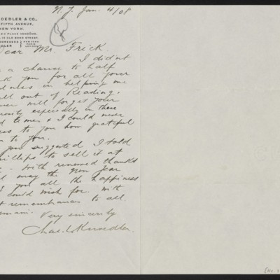 Letter from Charles L. Knoedler to Henry Clay Frick, 4 January 1908