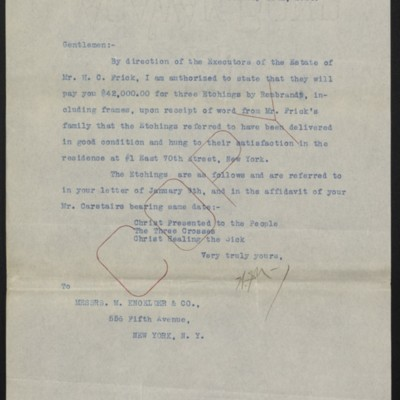 Letter from W.J. Naughton to M. Knoedler & Co., 26 January 1920
