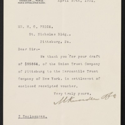Letter from M. Knoedler & Co. to Henry Clay Frick, 30 April 1901