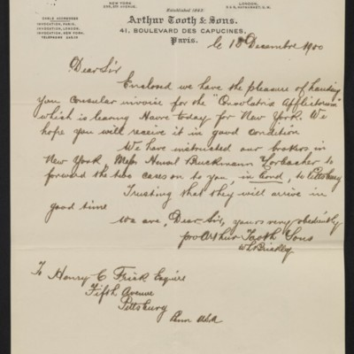 Letter from Arthur Tooth & Sons to Henry Clay Frick, 15 December 1900 [front]