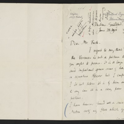 Letter from Roger E. Fry to [Henry Clay] Frick, 24 June 1910