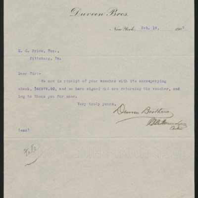 Letter from Duveen Brothers to Henry Clay Frick, 19 February 1907
