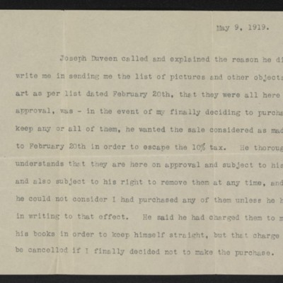 Note written by [Henry Clay Frick], 9 May 1919