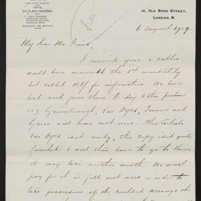 Letter from Charles S. Carstairs to Henry Clay Frick, 6 August 1909 [page 1 of 2]