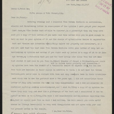 Letter from Charles Henry Hart to Henry C. Frick, 17 January 1917