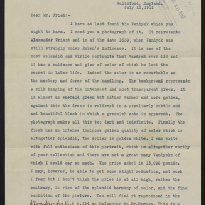 Copy of a letter from Roger Fry to H.C. Frick, 10 July 1911 [page 1 of 3]