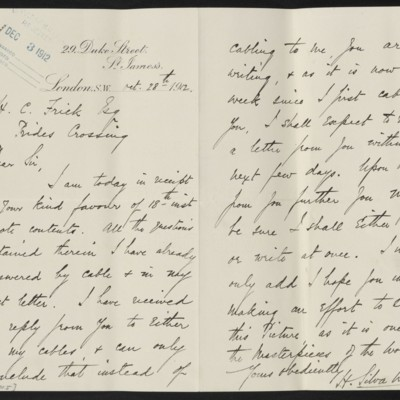 Letter from H. Silva White to H.C. Frick, 28 October 1912