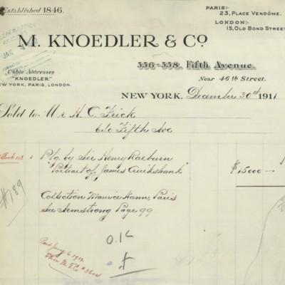 M. Knoedler & Co. Invoice, 30 December 1911