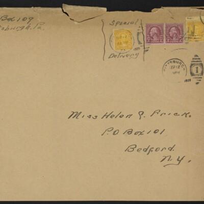 Envelope addressed to Helen Clay Frick, 12 September 1929