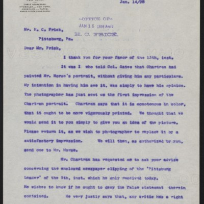 Letter from Roland F. Knoedler to Henry Clay Frick, 14 January 1898