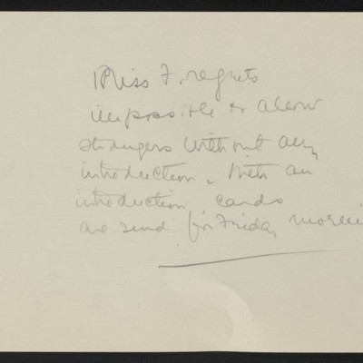 Note from Helen Clay Frick regarding access to Henry Clay Frick's collection, circa 1920s