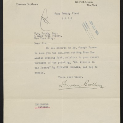 Letter from Duveen Brothers to Henry Clay Frick, 21 June 1915