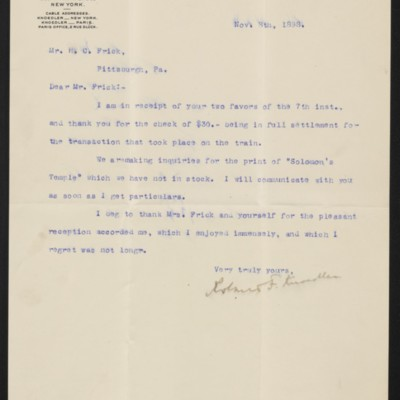 Letter from Roland F. Knoedler to Henry Clay Frick, 8 November 1898