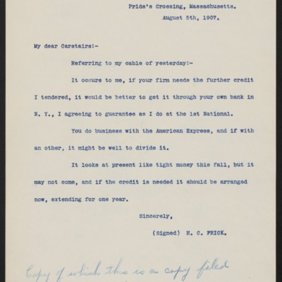 Letter from Henry Clay Frick to Charles S. Carstairs, 5 August 1907