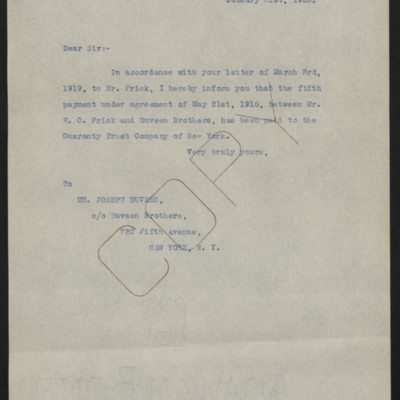 Letter from [Office of the Estate of Henry Clay Frick] to Joseph Duveen, 31 January 1920