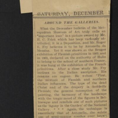 "Clipping, ""Around the Galleries,"" New York Sun, 14 December 1907"