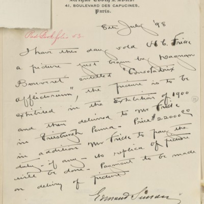 Agreement between Edmond Simon and Henry Clay Frick, 8 July 1898
