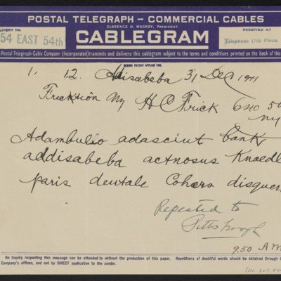 Cable from [[Roger E. Fry?]] to Henry Clay Frick, 31 December 1911