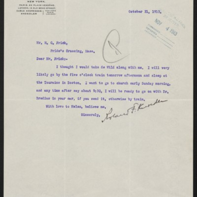 Letter from Roland F. Knoedler to Henry Clay Frick, 31 October 1913